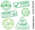 Vegan and natural food. Rubber stamp vector illustrations - stock vector