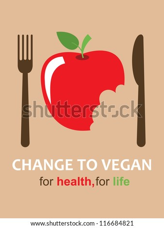 vegan card design. vector illustration - stock vector