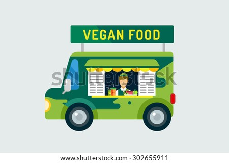 Vegan city food car icon. Take out food. Nature product, vitamin symbol, auto restaurant, mobile kitchen, hot fastfood, green vegetables. Vegan food, nature products. Food market. Isolated on white - stock vector