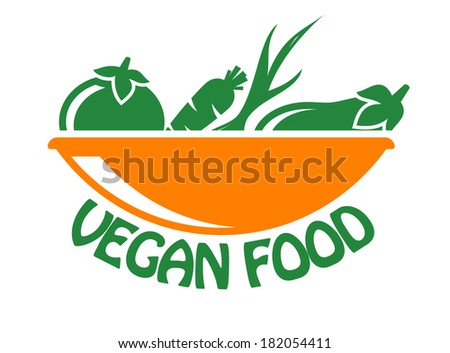 Vegan food icon in stylish green and orange with fresh vegetables logo in a bowl above the text,  isolated on white - stock vector