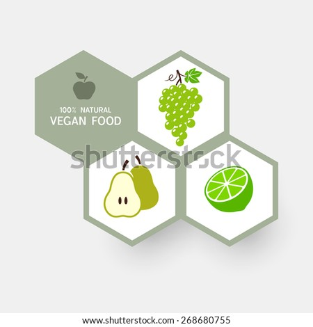 Vegan food infographic concept with fruit icons - stock vector