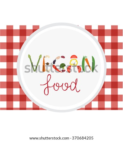 Vegan food word from vegetables. Vector illustration of vegetarian food on red checkered napkin. Ready template for vegetarian cafe, menu, advertising, etc. - stock vector