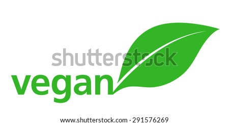 Vegan Logo with a single fresh green leaf behind lowercase text - vegan - on a white background, simple stylish vector illustration - stock vector