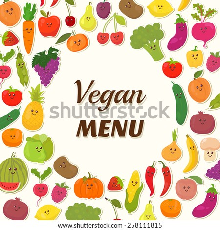 Vegan menu background. Vegetarian Card Design. Cute fruits and vegetables. Vector illustration - stock vector