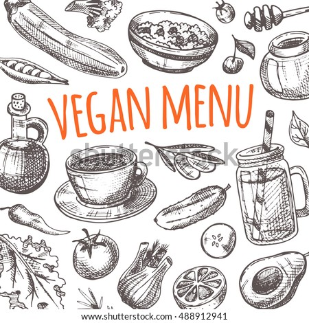 Vegan menu design card. Hand drawn vector illustration. Can be used for menu organic cafe, restaurant, bar, poster, banner, sticker, placard, symbol and other design.