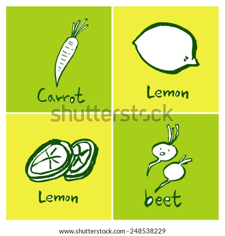Vegetable and fruit illustrations / Hand drawn food ingredients - vector - stock vector
