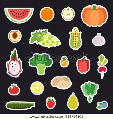 Vegetable and fruit  multicolored stickers (icons) vector set. Modern flat design.
