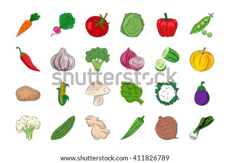 Vegetable and Fruits Hand Drawn Colored Vector Icons 1