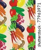 Vegetable background and seamless pattern. Vector illustration - stock vector