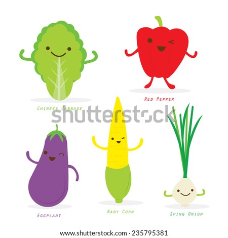 Vegetable Cartoon Cute Set Chiness Cabbage Sweet Pepper Eggplant Baby Corn Spring Onion Vector - stock vector