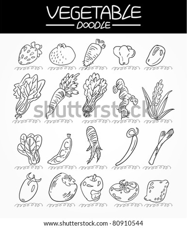vegetable doodle icon set - stock vector