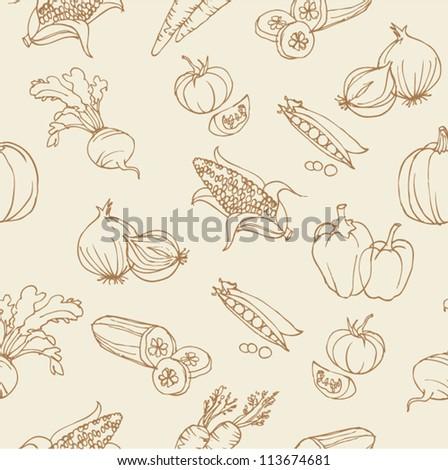 Vegetable doodles seamless vector - stock vector
