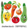 Vegetable family. Funny cartoon and vector isolated characters. - stock vector