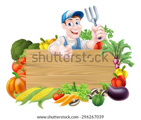 Vegetable gardener cartoon character sign. A cartoon gardener  holding a garden fork gardening tool above a wooden sign surrounded by fresh vegetables - stock vector