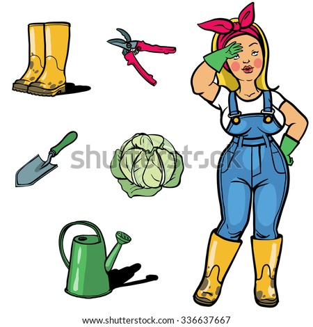 Vegetable gardener cartoon character sign ang stock vector for Gardening tools cartoon