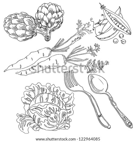 Vegetable hand-drawn set in vector - stock vector
