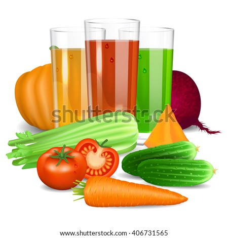 Vegetable juices. Cucumber, tomato, carrot, pumpkin, beets and celery. Natural vegetable drink, healthy organic food. Realistic vector illustration