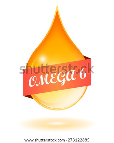 Vegetable oil drop and omega 6 icon - stock vector