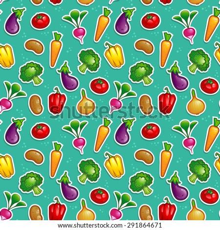 vegetable seamless pattern - stock vector