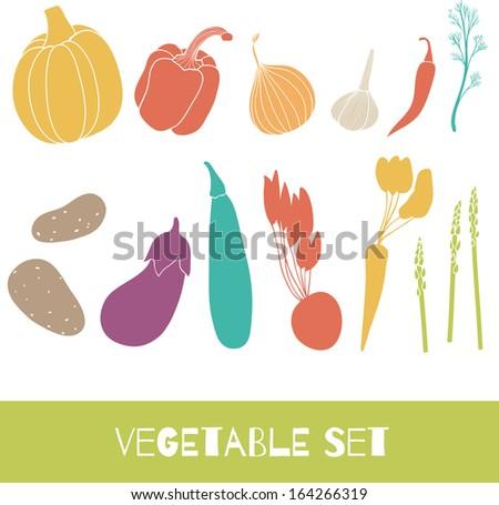 Vegetable set. Cartoon vector illustration - stock vector