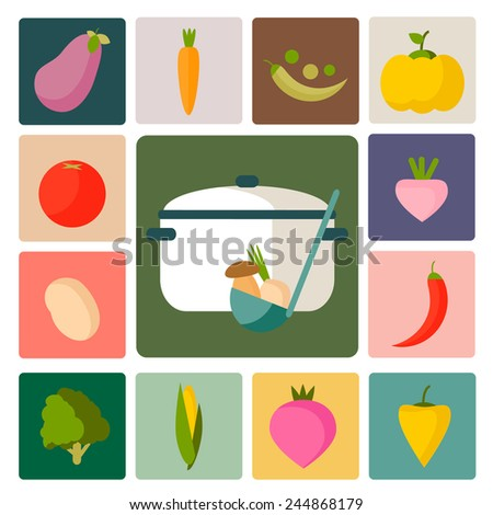 Vegetable vector icons. Perfect food set for cooking, restaurant, menu, vegetables and vegetarian food. Flat design.   - stock vector