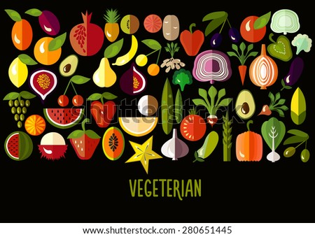 Vegetables and fruit icons: vector set of flat colorful food signs. Vegetarian set. Vector illustration - stock vector