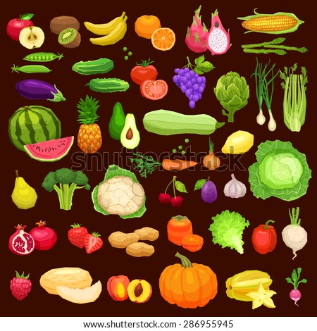 Vegetables And Fruits Big Icons Set In Flat Style On Dark Background. Healthy And Vegetarian Food Collection