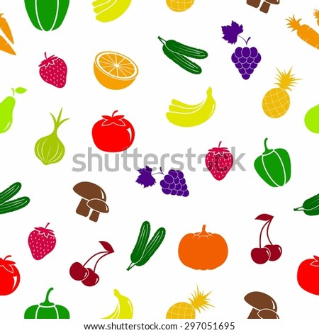Vegetables and fruits icon. pattern