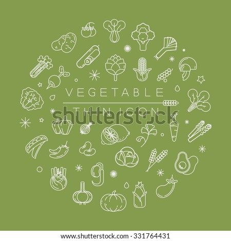 Vegetables and fruits thin icons , eps10 vector format - stock vector