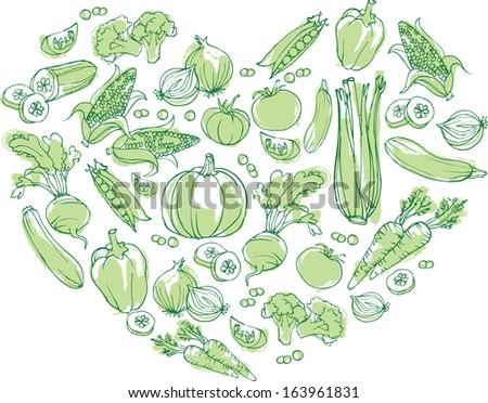 Vegetables arranged in heart shape - stock vector