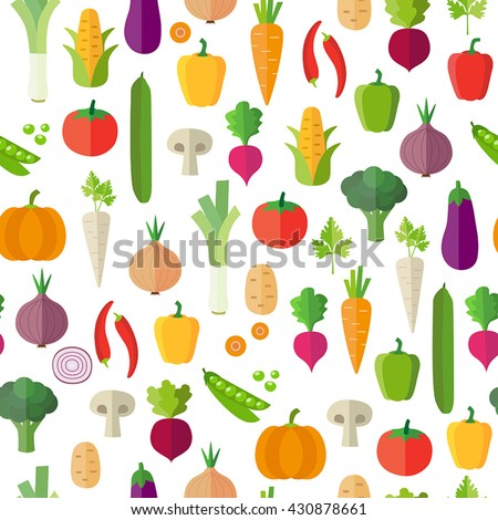 Vegetables background - seamless pattern. Can illustrate topics like healthy eating, vegetarian meals, vegan or raw diet. Wallpaper decoration.