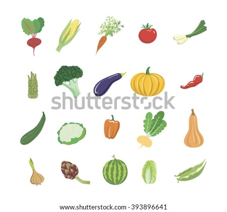 Vegetables colored icons