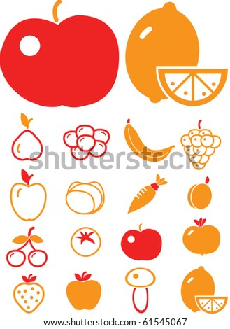 vegetables & fruits - stock vector