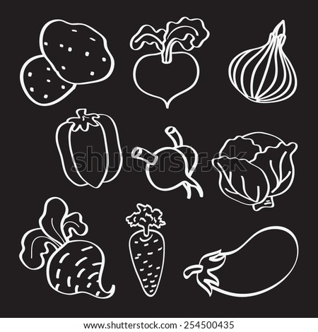 Vegetables icon set. Vector.
