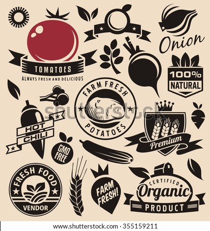 Vegetables icons, labels, signs, symbols, logo layouts and design elements vector set. Fresh farm food logo design elements. Healthy and gmo free organic products vintage graphic collection. - stock vector