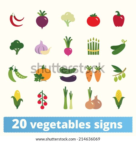 Vegetables icons: vector set of flat colorful food signs - stock vector