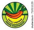 Vegetables label, chili pepper, vector illustration - stock vector