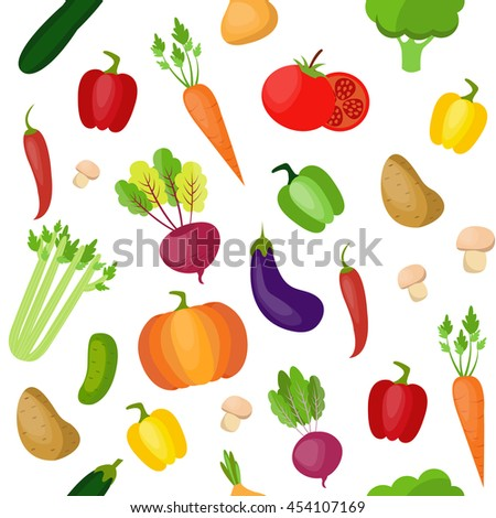 Vegetables pattern. Modern flat design. Isolated objects.
