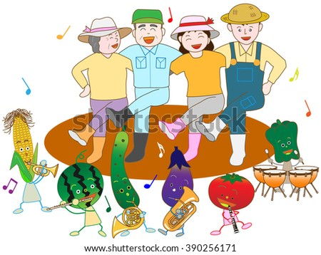 Vegetables play music and are pleased with a good harvest with a farmer. - stock vector