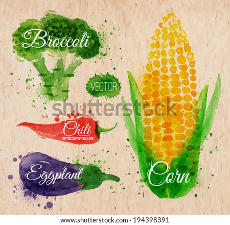 Vegetables set drawn watercolor blots and stains with a spray corn, broccoli, chili, eggplant on kraft paper - stock vector