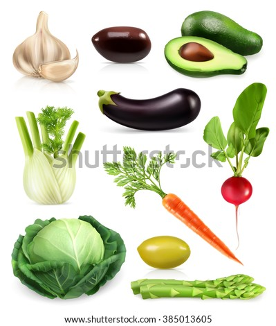 Vegetables, set of vector icons - stock vector