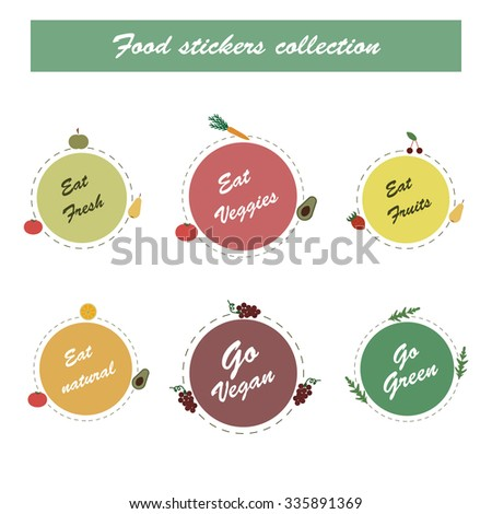 Vegetables stickers in vector. Set of tags and labels with vegetables, fruites,berries. Vegan food icons
