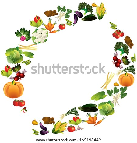 Vegetables vector background with place for text, healthy food theme vector illustration. - stock vector