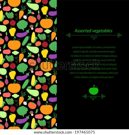 Vegetables vector dark background with great abundance of bright colorful vegetables, with place for text