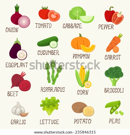 Vegetables vector icon set - stock vector