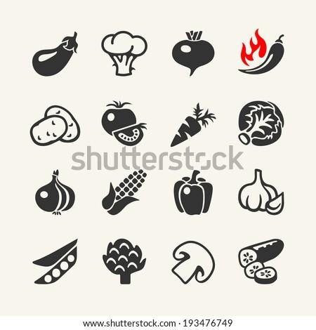 Vegetables web icon set - stock vector