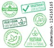 Vegetarian and natural food. Rubber stamp vector illustrations - stock vector