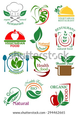 Vegetarian and natural healthy food emblems with abstract colorful fruits, vegetables and kitchenware for restaurant or food design - stock vector