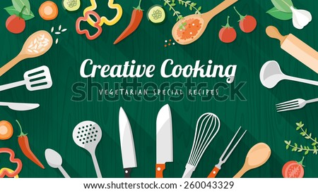 Vegetarian and vegan food recipes banner with kitchenware, utensils and chopped vegetables, copyspace at center - stock vector