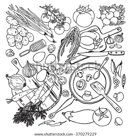 Vegetarian and vegan food recipes template with vegetables and kitchenware. Top view sketches cooking items on white background.  - stock vector